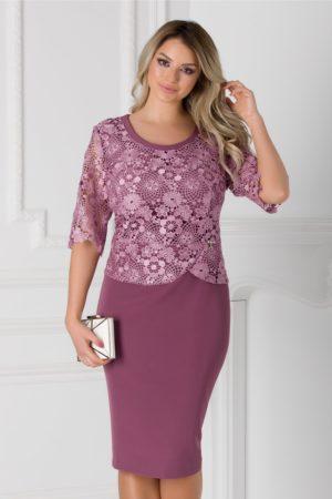 Rochie de seara lila midi eleganta cu insertii de dantela si crepeu la spate Aiana pentru femei plinute