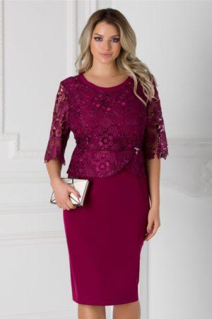 Rochie de seara magenta midi eleganta cu insertii de dantela si crepeu la spate Aiana pentru femei plinute