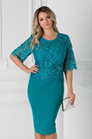 Rochie de seara turcoaz midi eleganta cu insertii de dantela si crepeu la spate Aiana pentru femei plinute