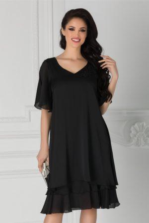 Rochie de ocazie neagra din voal cu broderie si margelute la umar Alison cu coiala larga pentru femei plinute