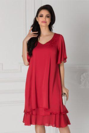 Rochie de ocazie rosie din voal cu broderie si margelute la umar Alison cu coiala larga pentru femei plinute