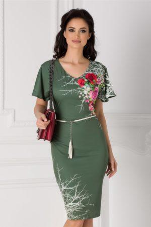 Rochie de ocazie kaki eleganta cu imprimeu floral pe o parte accesorizata in talie cu o curea reglabila Amalia