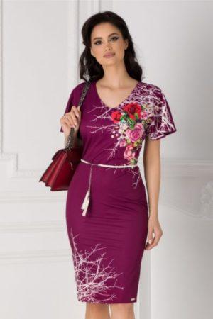 Rochie de ocazie magenta eleganta cu imprimeu floral pe o parte accesorizata in talie cu o curea reglabila Amalia