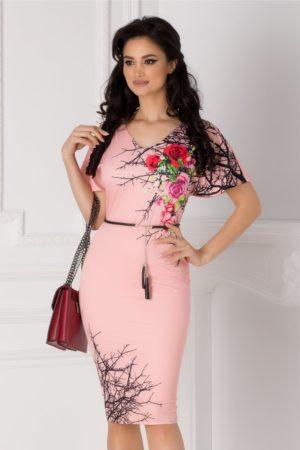 Rochie de ocazie roz eleganta cu imprimeu floral pe o parte accesorizata in talie cu o curea reglabila Amalia