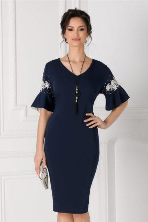 Rochie midi bleumarin de ocazie eleganta cu broderie florala si margelute la maneci Amber