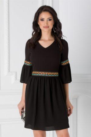 Rochie de zi neagra scurta cu motive etno si cordon in talie Amber