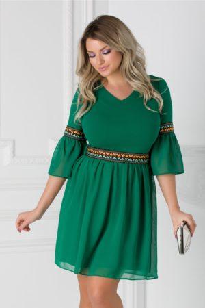 Rochie de zi verde scurta cu motive etno si cordon in talie Amber