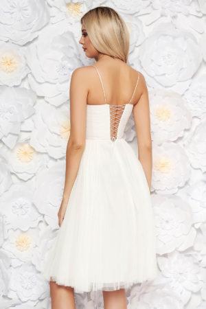 Rochie alba midi tip corset cu bretele subtiri de lux pentru seara cu croiala stil printesa Ana Radu