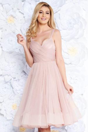 Rochie midi roz de lux in clos din tulle cu bust buretat Ana Radu pentru ocazii speciale