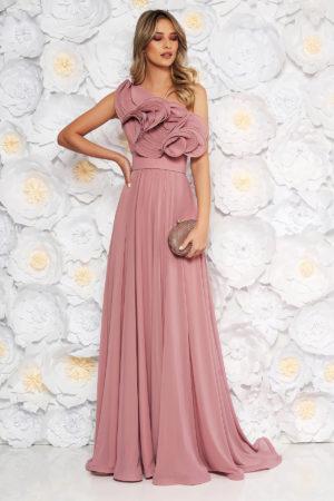 Rochie lunga roz de lux pentru seara din voal cu volanase moderne si design asimetric Ana Radu