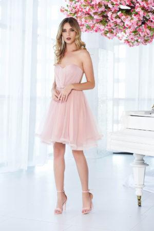 Rochie eleganta roz scurta de lux cu bust buretat si inchidere tip corset Ana Radu  intr-o croiala stil printesa