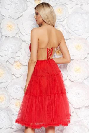 Rochie scurta rosie de lux stil printesa cu bust buretat  realizata din tull diafan si vaporos Ana Radu