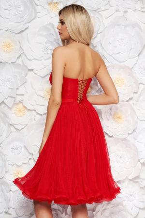 Rochie scurta rosie de lux tip corset realizata din tull cu o croiala stil printesa Ana Radu