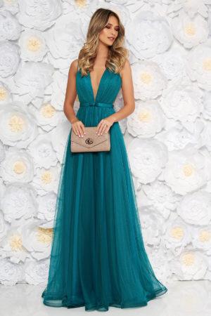 Rochie lunga de printesa turcoaz de lux pentru seara cu decolteu adanc in V marca Ana Radu realizata din tull diafan