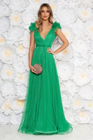 Rochie lunga de seara verde-deschis de lux realizata din tull diafan cu bust buretat si decolteu adanc in V Ana Radu