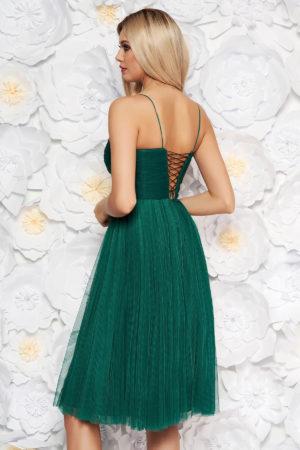 Rochie verde inchis midi tip corset cu bretele subtiri de lux pentru seara cu croiala stil printesa Ana Radu