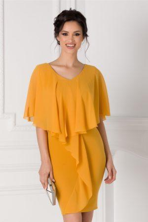 Rochie midi de ocazie galben mustar eleganta cu volane la umeri si la bust Anais pentru tinute cochete