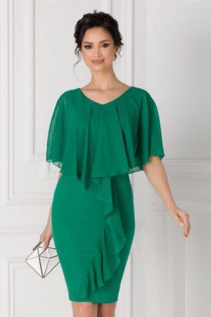 Rochie midi de ocazie verde eleganta cu volane la umeri si la bust Anais pentru tinute cochete