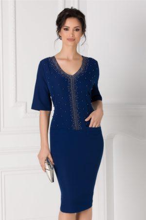 Rochie midi de seara bleumarin accesorizata cu strasuri si margelute Anastasia pentru ocazii speciale