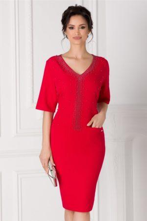 Rochie midi de seara rosie accesorizata cu strasuri si margelute Anastasia pentru ocazii speciale