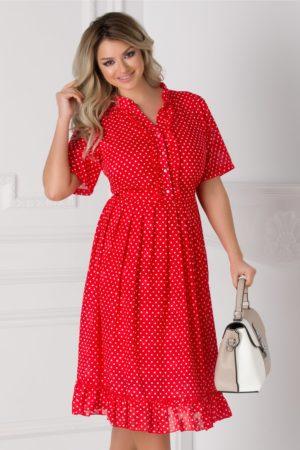 Rochie de ocazie midi rosie cu buline mici si volanase la baza fustei in clos lejere Anca