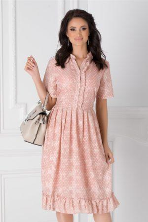 Rochie de ocazie midi roz prafuit cu buline mici si volanase la baza fustei in clos lejere Anca