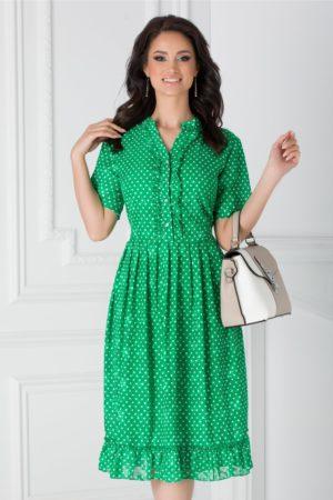 Rochie de ocazie midi verde cu buline mici si volanase la baza fustei in clos lejere Anca