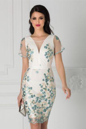 Rochie de nunta ivoire eleganta midi mulata cu broderie florala si cordon in talie Anelie