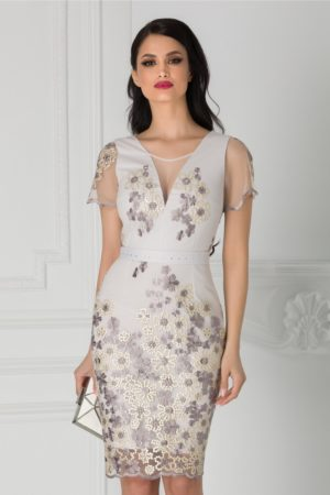 Rochie de nunta lila prafuit midi mulata cu broderie florala si cordon in talie Anelie