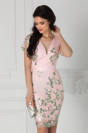 Rochie de nunta roz midi mulata cu broderie florala si cordon in talie Anelie
