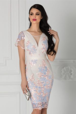 Rochie de nunta roz pal eleganta midi mulata cu broderie florala si cordon in talie Anelie