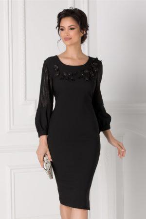 Rochie de seara neagra eleganta cu flori 3D la bust si maneci lungi vaporoase pentru femei plinute Anemona
