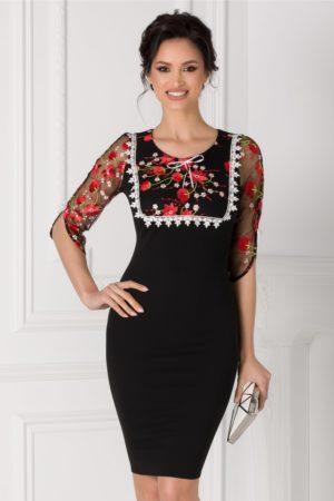 Rochie midi eleganta neagra de ocazie cu broderie florala colorata la bust si la maneci Angela pentru femei plinute