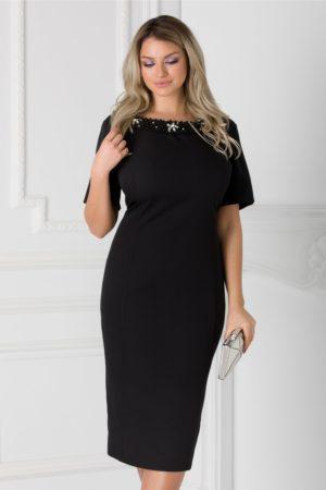 Rochie de ocazie neagra midi eleganta accesorizata cu aplicatii la decolteu si fundita la spate Ariadna
