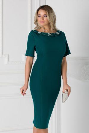 Rochie de ocazie verde midi eleganta accesorizata cu aplicatii la decolteu si fundita la spate Ariadna