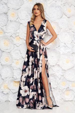 Rochie lunga de ocazie bleumarin cu imprimeu floral confectionata din material satinat placut la atingere Artista