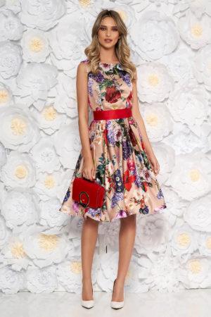 Rochie midi crem cu imprimeu floral colorat realizata din satin cu decolteu rotund si fusta evazata Artista