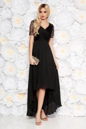 Rochie de seara neagra asimetrica eleganta din tull brodat cu insertii de paiete Artista