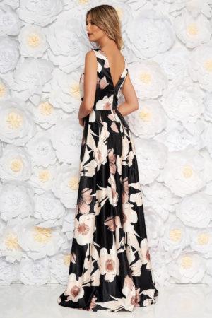 Rochie lunga de ocazie neagra cu imprimeu floral confectionata din material satinat placut la atingere Artista