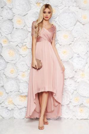 Rochie de seara roz asimetrica eleganta din tull brodat cu insertii de paiete Artista