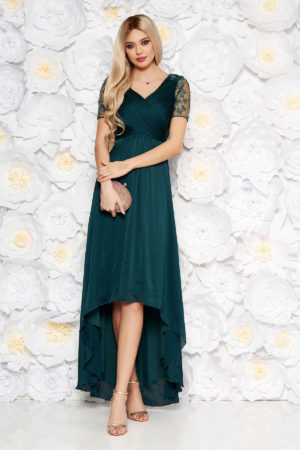 Rochie de seara verde inchis asimetrica eleganta din tull brodat cu insertii de paiete Artista