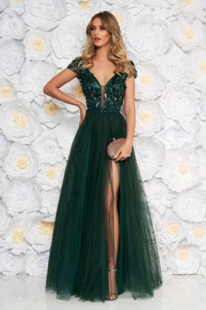 Rochie lunga de seara verde-inchis stil printesa cu bust buretat si crapatura adanca pe picior Artista