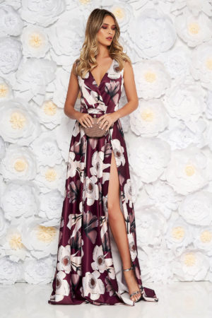 Rochie lunga de ocazie visinie cu imprimeu floral confectionata din material satinat placut la atingere Artista