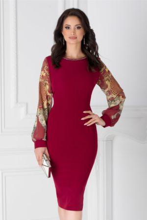 Rochie midi bordo eleganta cu maneci din voal cu print si margelute la guler Ayana pentru femei plinute