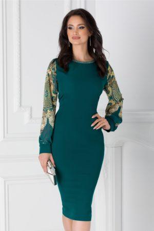 Rochie midi verde eleganta cu maneci din voal cu print si margelute la guler Ayana pentru femei plinute