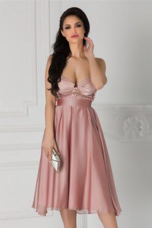 Rochie eleganta midi de botez realizata din voal rose cu broderie la bust BBY