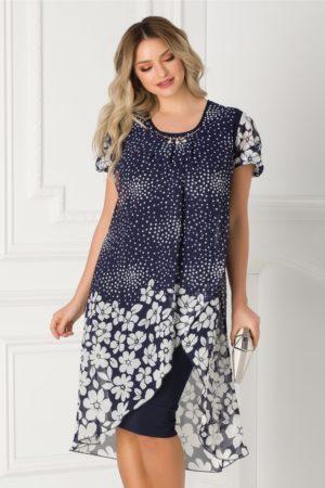 Rochie de ocazie bleumarin eleganta midi cu voal imprimat petrecut Bianca pentru femei plinute