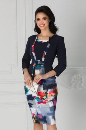 Rochie office bleumarin de ocazie cu imprimeu multicolor la baza Bruno pentru femei plinute
