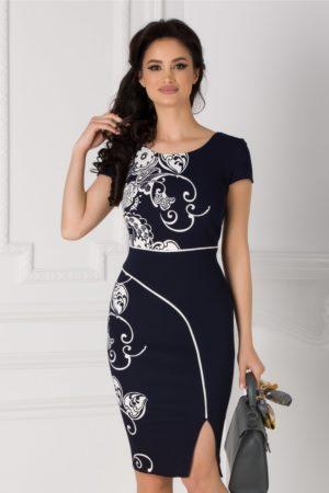 Rochie midi eleganta bleumarin cu imprimeu floral alb si dunga alba Carmen pentru office
