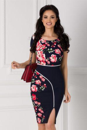 Rochie midi eleganta bleumarin cu imprimeu floral roz si dunga alba Carmen pentru office